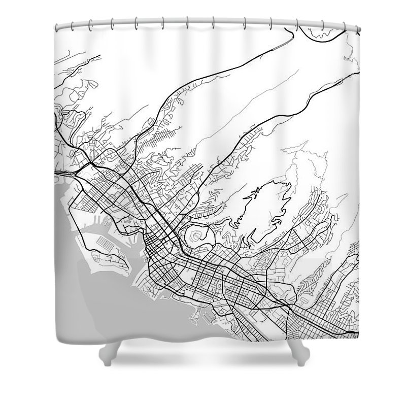 Road Map Shower Curtain featuring the digital art Honolulu Hawaii Usa Light Map by Jurq Studio