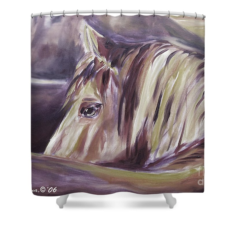 Brown Shower Curtain featuring the painting Horse World Detail by Gina De Gorna