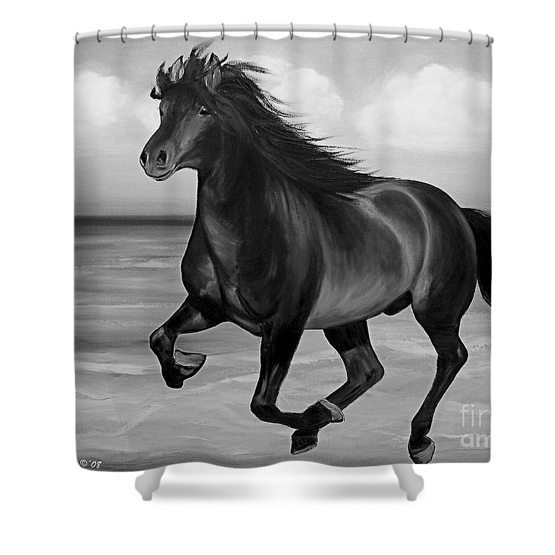 Horses Shower Curtain featuring the painting Horses In Paradise Run by Gina De Gorna