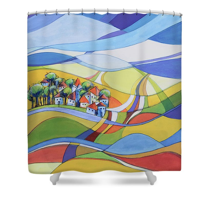 Landscape Shower Curtain featuring the painting Houses Along The River by Aniko Hencz