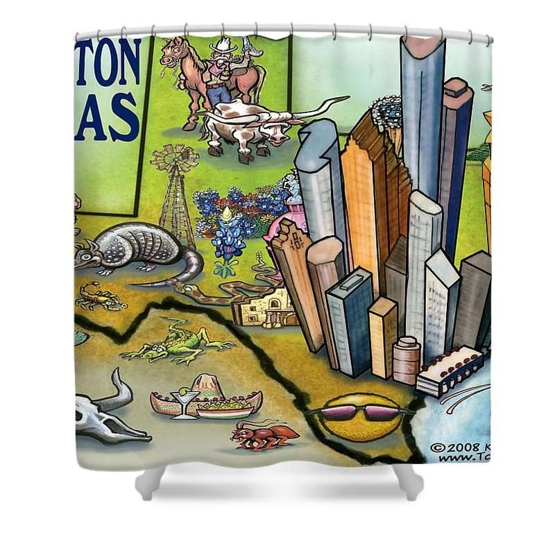 Houston Shower Curtain featuring the digital art Houston Texas Cartoon Map by Kevin Middleton