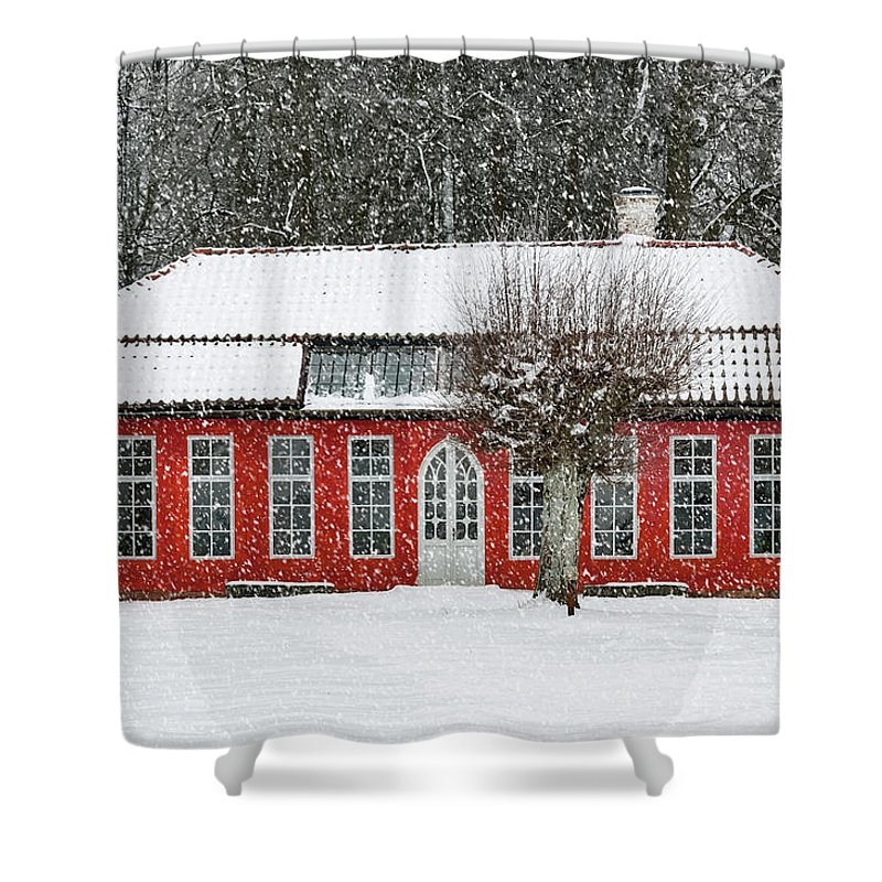 Winter Shower Curtain featuring the photograph Hovdala Castle Orangery In Winter by Antony McAulay