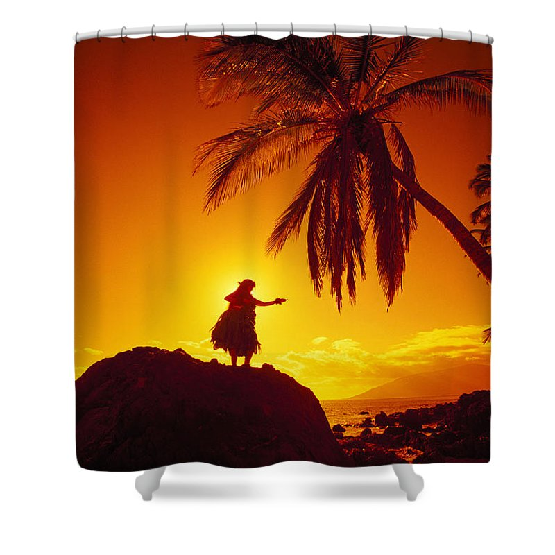 Aloha Shower Curtain featuring the photograph Hula At Sunset by Ron Dahlquist - Printscapes