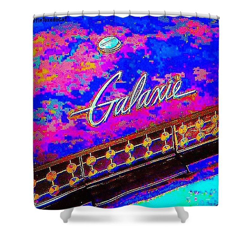Vintage Shower Curtain featuring the photograph I Am Bindging On #psychedelic Sunday by Austin Tuxedo Cat