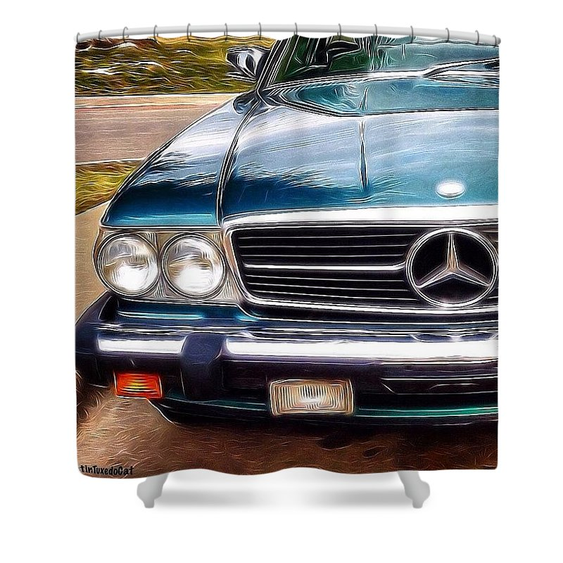 Beautiful Shower Curtain featuring the photograph I Love #vintage #cars (and Jewelry Too) by Austin Tuxedo Cat