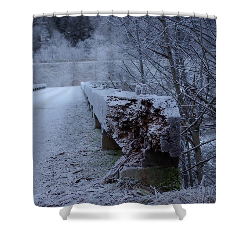 Ice Shower Curtain featuring the photograph Ice Bridge by Cindy Johnston