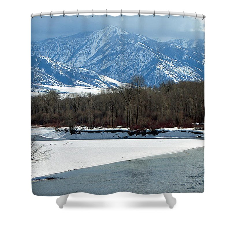 Ann Keisling Shower Curtain featuring the photograph Idaho Winter River by Ann Keisling