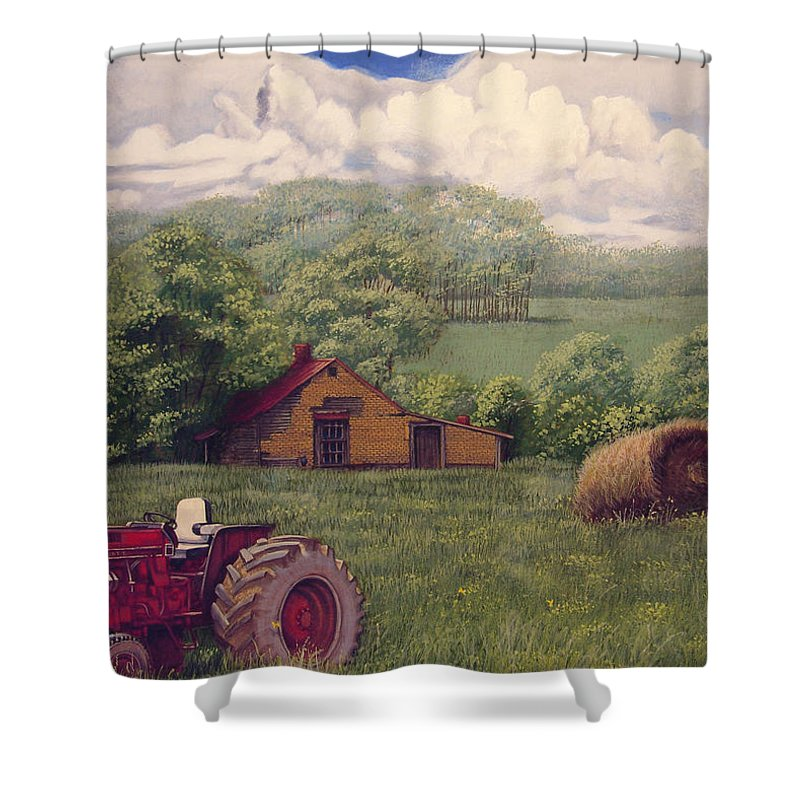 Landscape Shower Curtain featuring the painting Idle In Godfrey Georgia by Peter Muzyka