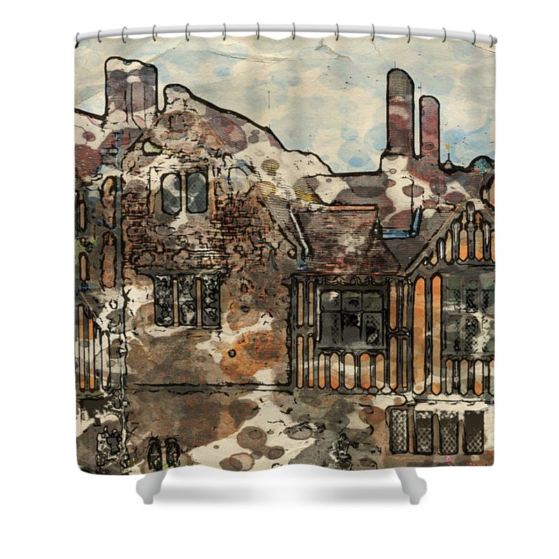 14th-century Shower Curtain featuring the digital art Ightham Mote by Paul Stevens