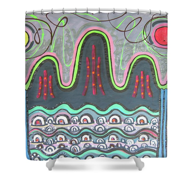 Sjkim Painting Shower Curtain featuring the painting Ilwolobongdo Abstract Landscape Painting by Seon-jeong Kim