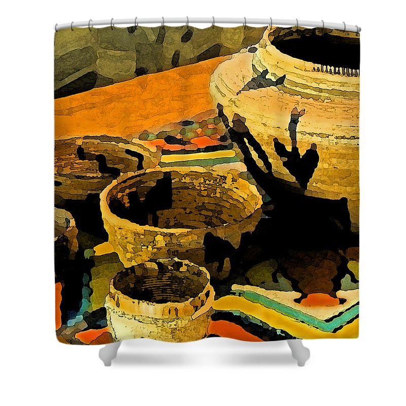 Basket Shower Curtain featuring the painting Indian Baskets 2 by Stephen Anderson