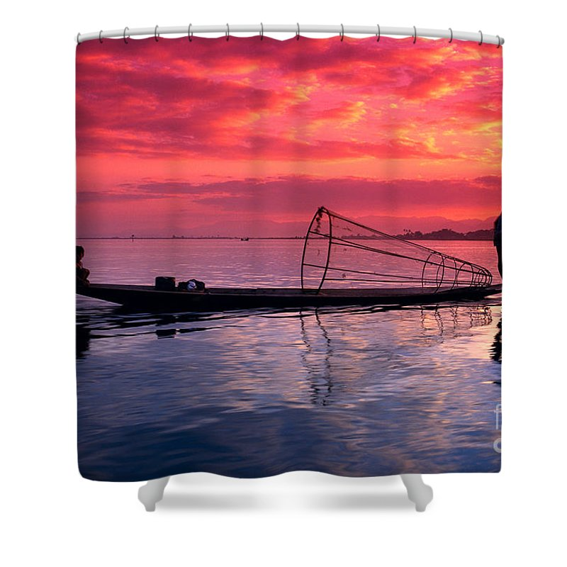 73-csm0075 Shower Curtain featuring the photograph Inle Lake Fisherman by Gloria & Richard Maschmeyer - Printscapes