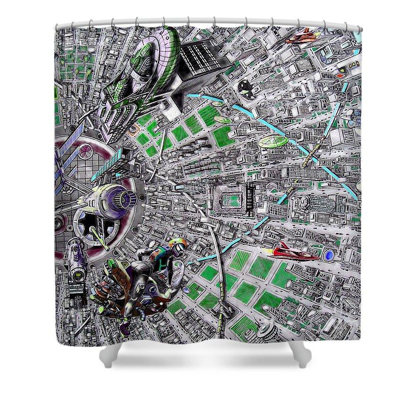 Landscape Shower Curtain featuring the drawing Inside Orbital City by Murphy Elliott