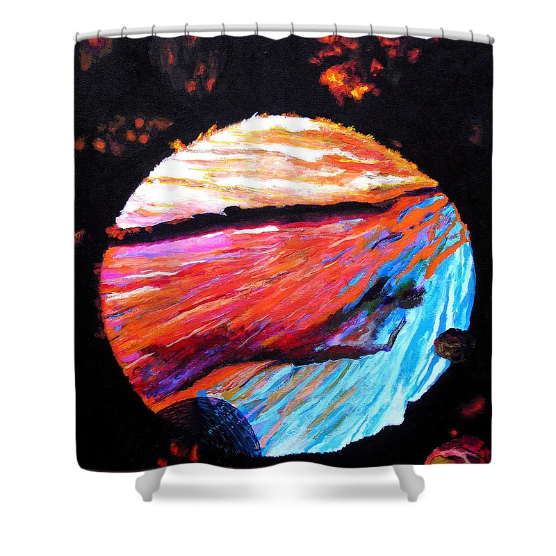 Abstract Shower Curtain featuring the painting Inspire Three by Stan Hamilton