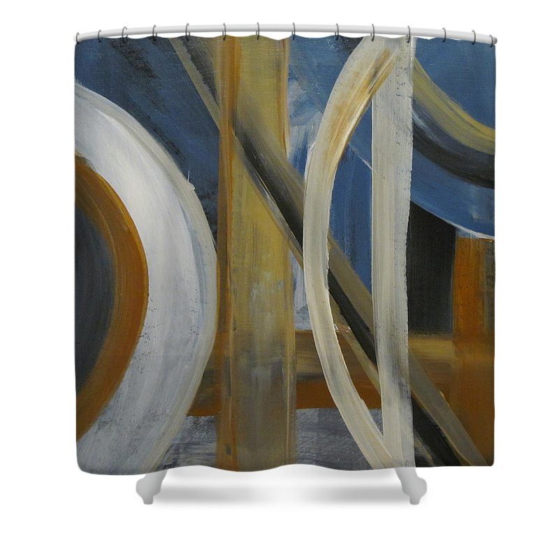 Abstract Shower Curtain featuring the painting Intersection In Blue 1 by Anita Burgermeister