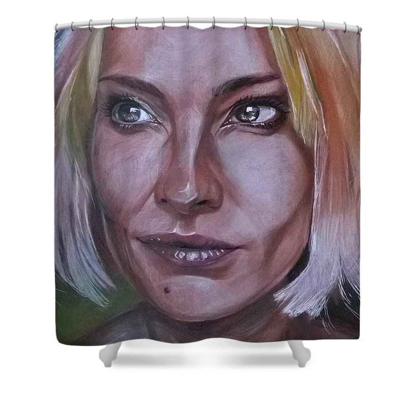 Woman Shower Curtain featuring the mixed media Irony by Yaroslav Paraponyak