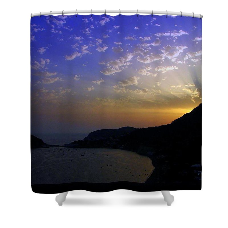 Sunset Shower Curtain featuring the photograph Ischia Awakens by Patrick Witz