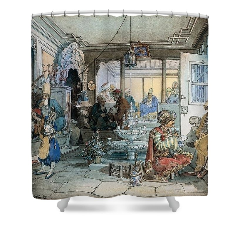 Amedeo Preziosi - Istanbul Cafe Shower Curtain featuring the painting Istanbul Cafe by Amedeo Preziosi