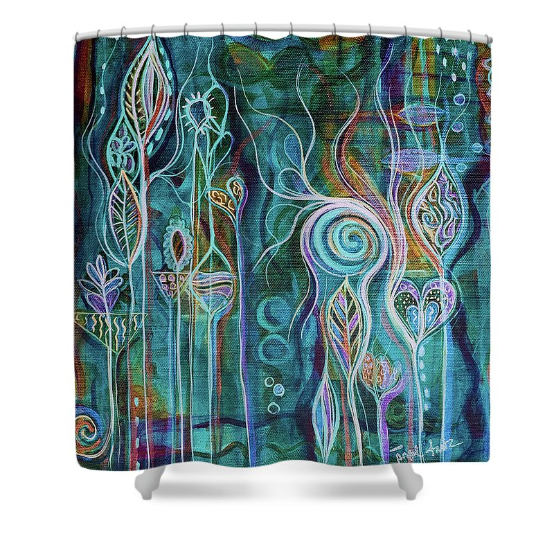 Art Shower Curtain featuring the painting Itty Bitty Fun by Angel Fritz