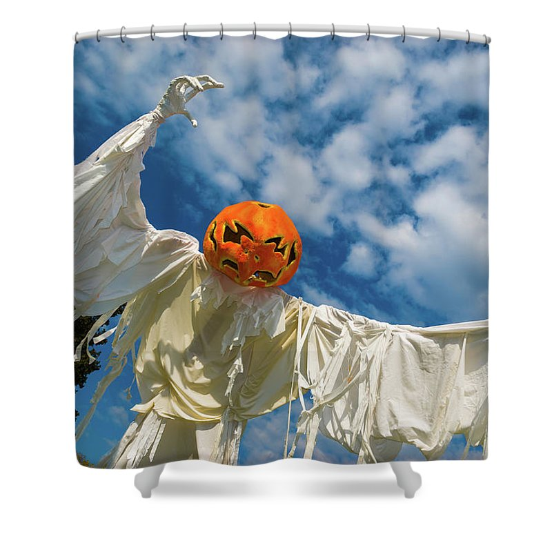 Landscape Shower Curtain featuring the photograph Jack-o-lantern Man by Javier Flores