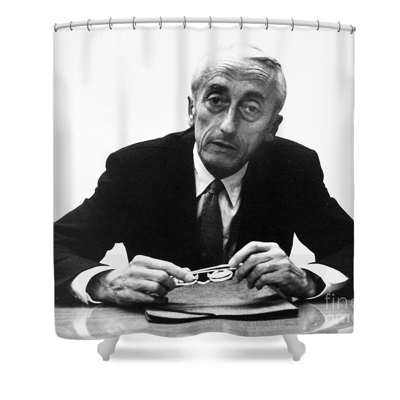 1974 Shower Curtain featuring the painting Jacques Cousteau (1910-1997) by Granger