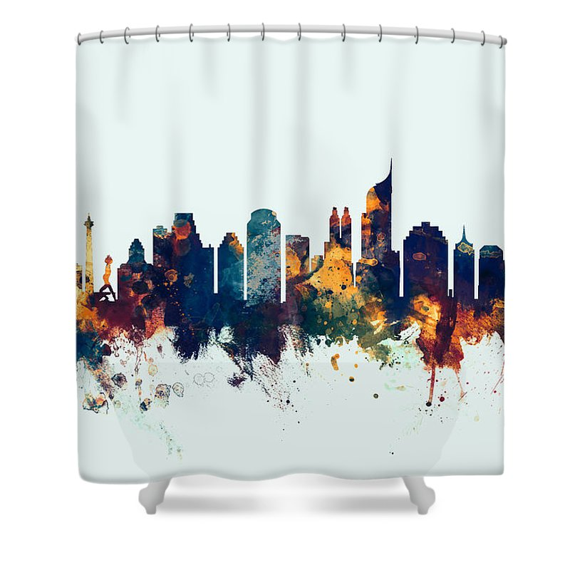 Watercolour Shower Curtain Featuring The Digital Art Jakarta Skyline Indonesia Bombay By Michael Tompsett
