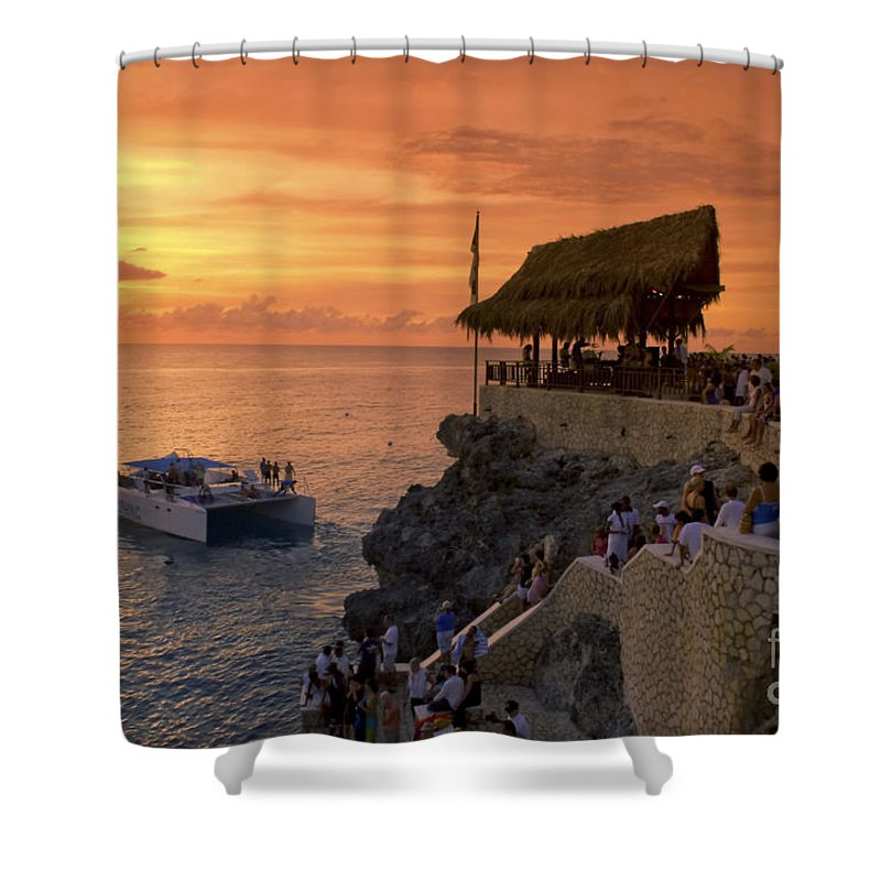 Air Shower Curtain featuring the photograph Jamaica Negril Ricks Cafe by Juergen Held