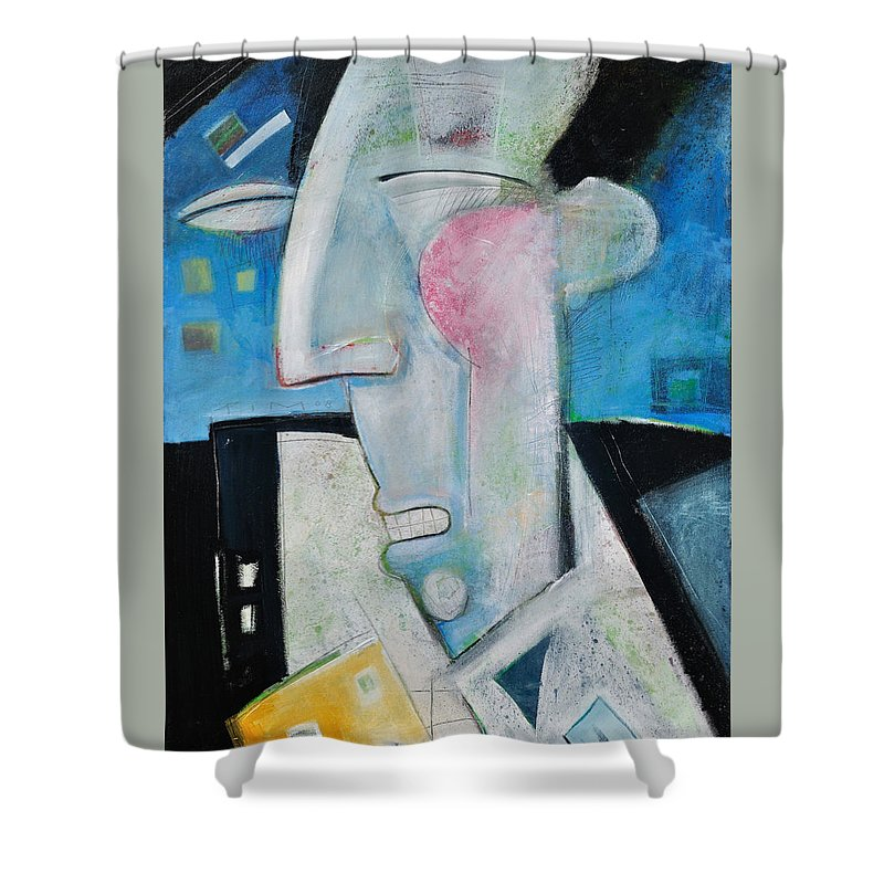 Jazz Shower Curtain featuring the painting Jazz Face by Tim Nyberg