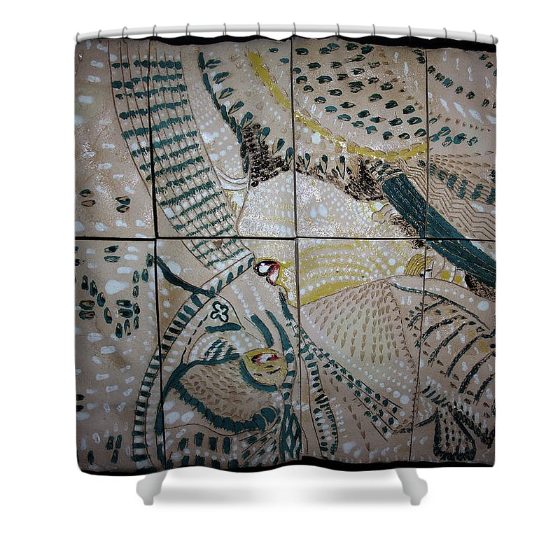 Mama Africa Twojesus Shower Curtain featuring the ceramic art Jesus And Mary by Gloria Ssali