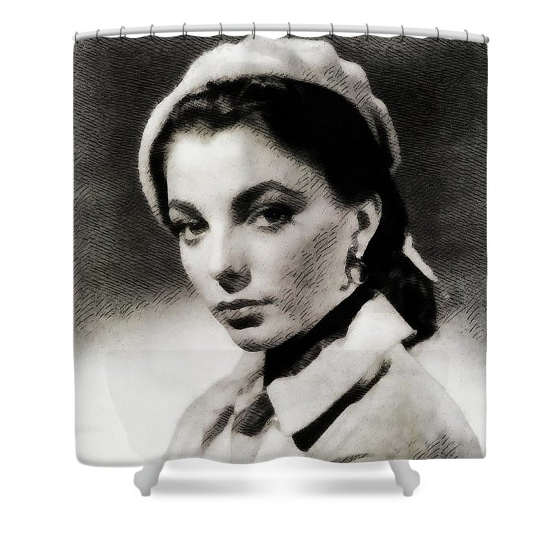 Joan Shower Curtain featuring the painting Joan Collins, Actress by John Springfield