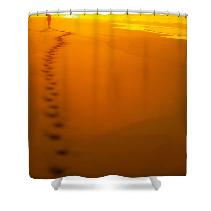C1211 Shower Curtain featuring the photograph Jogging At Sunset by Dana Edmunds - Printscapes