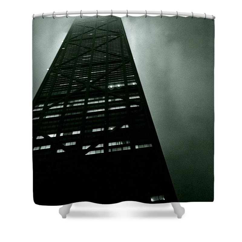 Geometric Shower Curtain featuring the photograph John Hancock Building - Chicago Illinois by Michelle Calkins