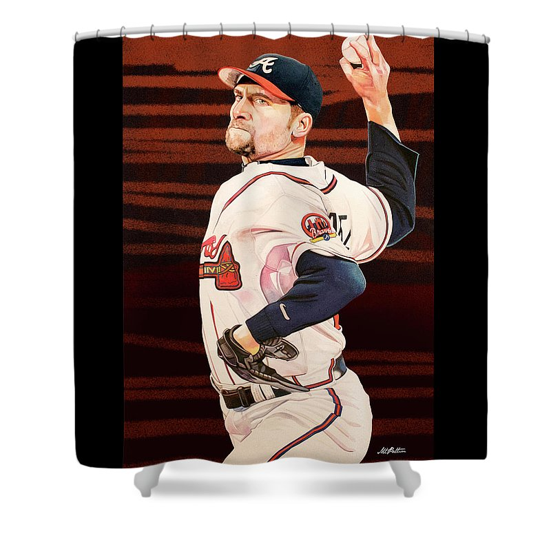 John Shower Curtain Featuring The Painting Smoltz