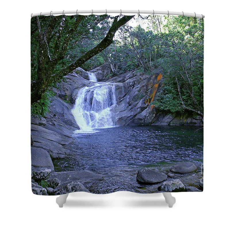 Tropical Shower Curtain featuring the photograph Josephine Falls And Tropical Pool by Kerryn Madsen- Pietsch