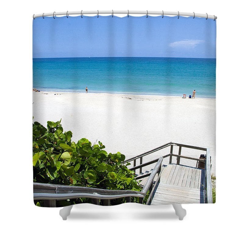 Juno; Florida; Loxahatchee; River; Jupiter; Inlet; Swim; Swimming; Children; Girl; Boy; Woman; Man; Shower Curtain featuring the photograph Juno Beach Florida by Allan Hughes