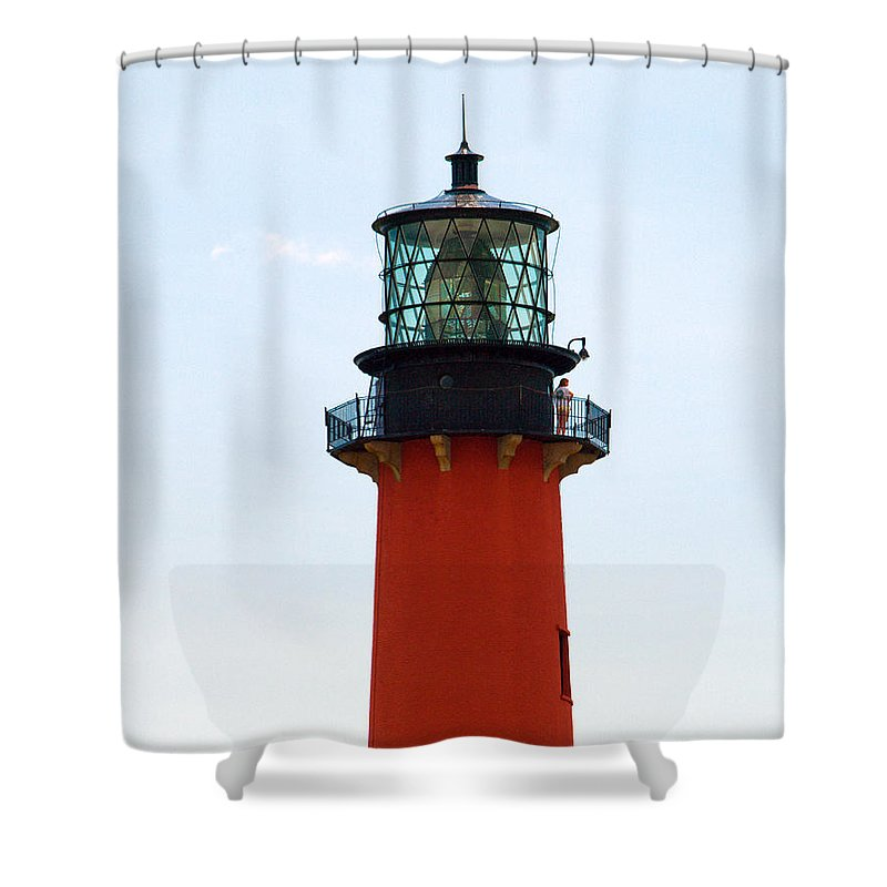 Florida; Juptier; Inlet; Loxahatchee; River; Atlantic; Coast; Shore; Beach; Light; Lighthouse; Beaco Shower Curtain featuring the photograph Jupiter Inlet Florida by Allan Hughes