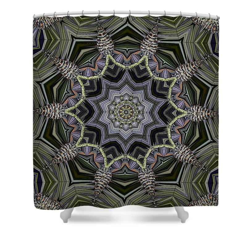 Kaleidoscope Shower Curtain featuring the digital art Kaleidoscope 96 by Ron Bissett