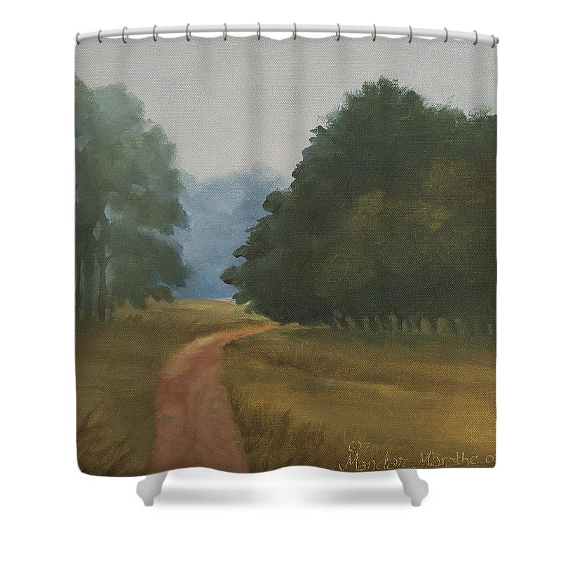 Landscape Shower Curtain featuring the painting Kanha Morning by Mandar Marathe