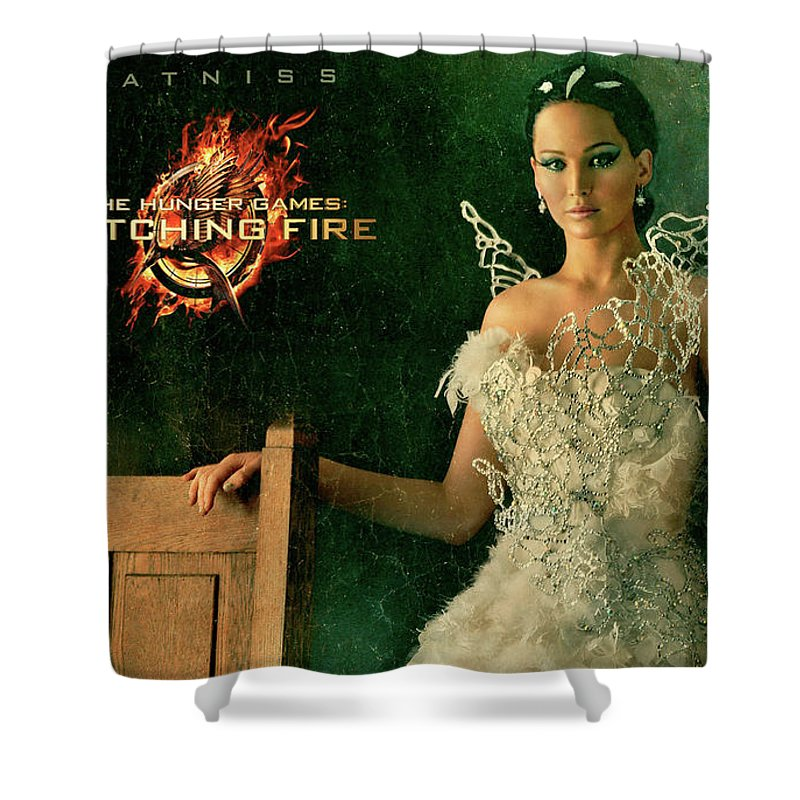 Katniss Hunger Games Catching Fire Shower Curtain featuring the digital art Katniss Hunger Games Catching Fire by Anne Pool