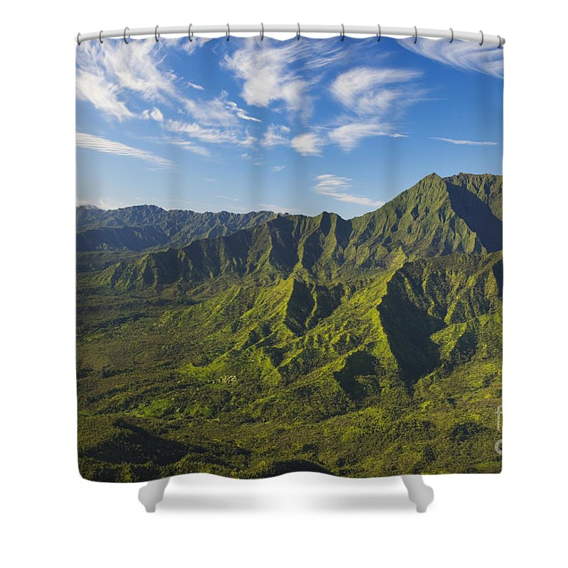 Above Shower Curtain featuring the photograph Kauai Aerial by Dana Edmunds - Printscapes