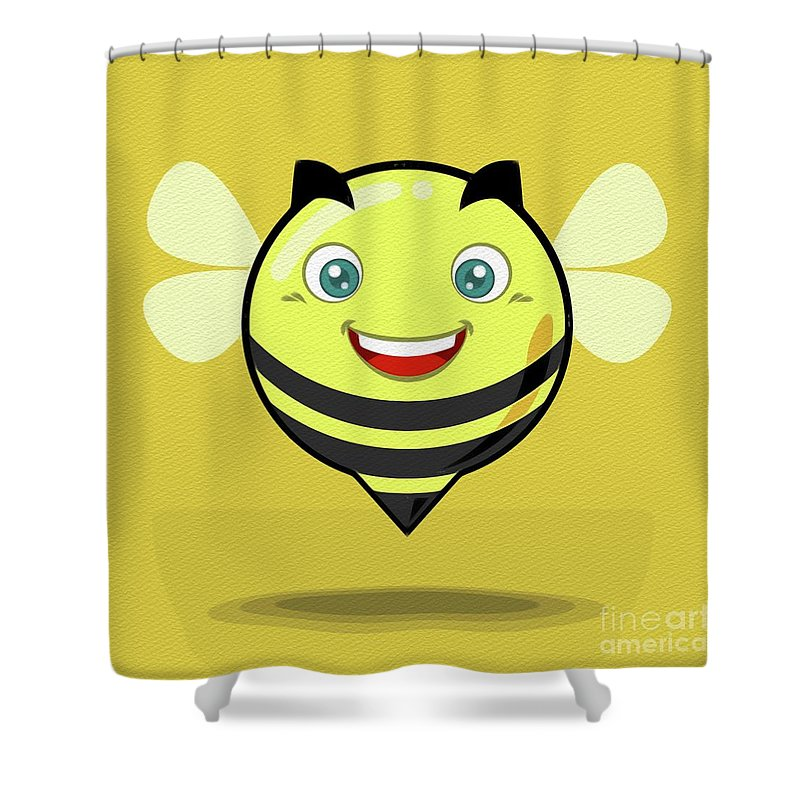 Bee Shower Curtain Featuring The Painting Kawaii Cute By Takeshi Takesh