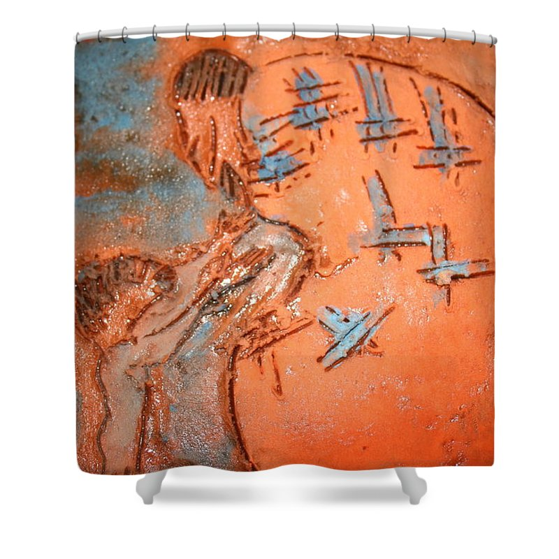 Jesus Shower Curtain featuring the ceramic art Kaweeke - Tile by Gloria Ssali