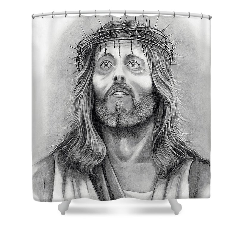 Jesus Christ Shower Curtain featuring the drawing King Of Kings by Murphy Elliott