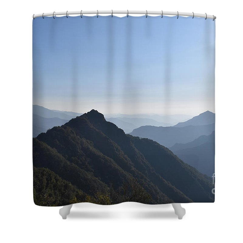 Alpine Shower Curtain featuring the photograph Kings Canyon Smokey Evening Vista by Will Sylwester