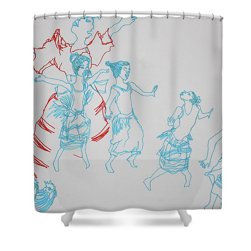 Jesus Shower Curtain featuring the painting Kintu And Nambi The Journey To Earth by Gloria Ssali