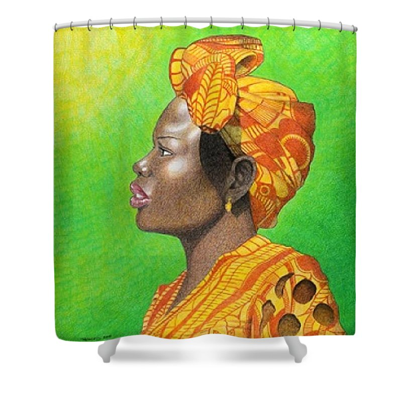African Shower Curtain featuring the drawing Kissed By The Sun by Jay Thomas II