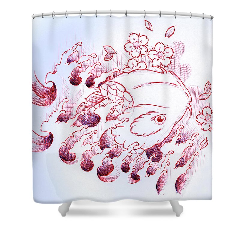 Koi Shower Curtain Featuring The Drawing Carp Tattoo Art By Samuel Whitton