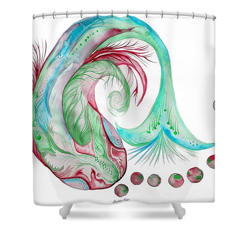 Koi Shower Curtain featuring the digital art Koi Fish-watercolor by Sandrine Kespi