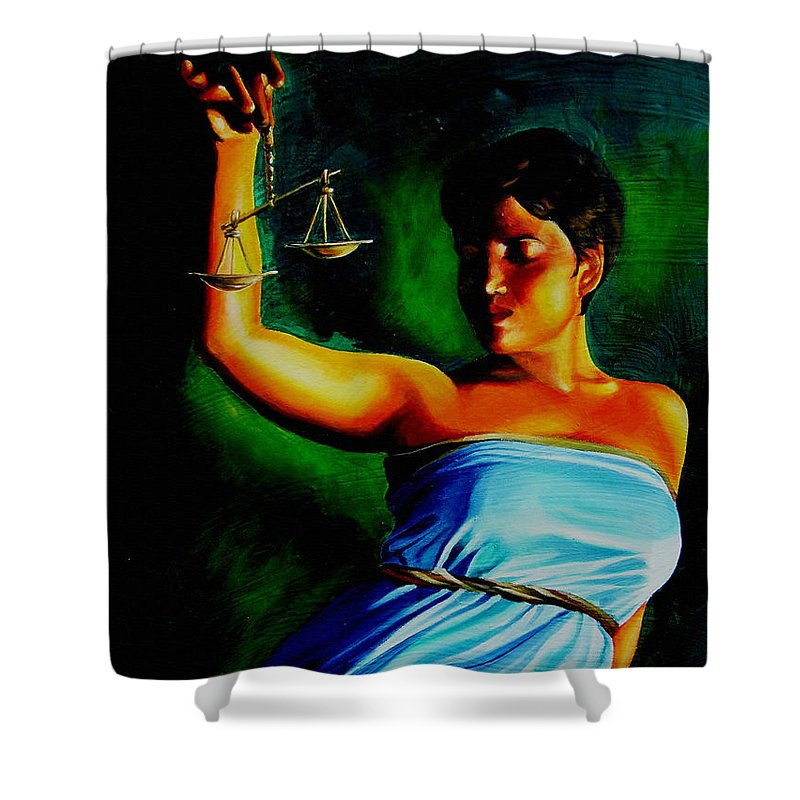 Law Art Shower Curtain featuring the painting Lady Justice by Laura Pierre-Louis