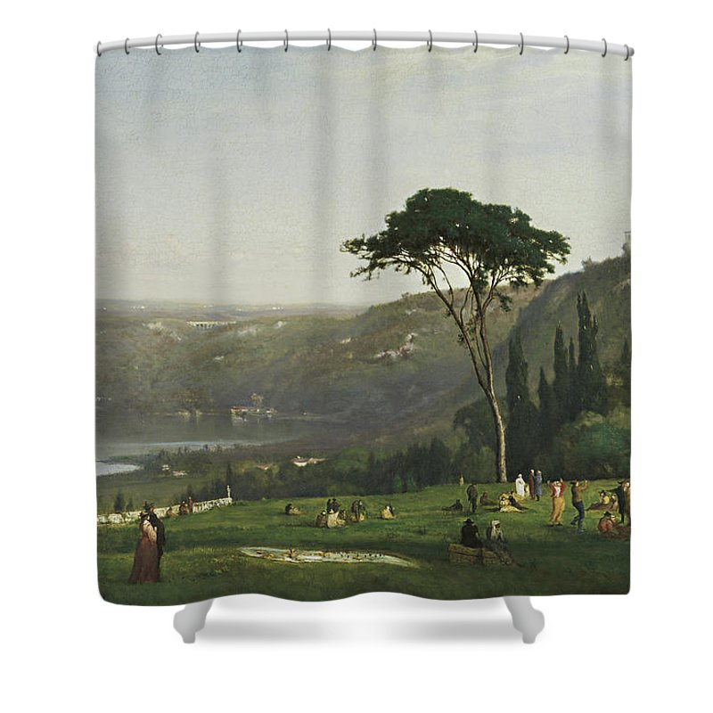 Lake Albano By George Inness Shower Curtain featuring the painting Lake Albano by George Inness